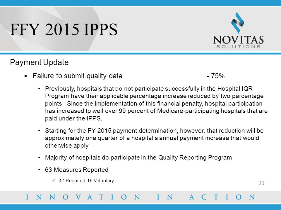 FFY 2015 IPPS 23 Payment Update  Failure to submit quality data -.75% Previously, hospitals that do not participate successfully in the Hospital IQR