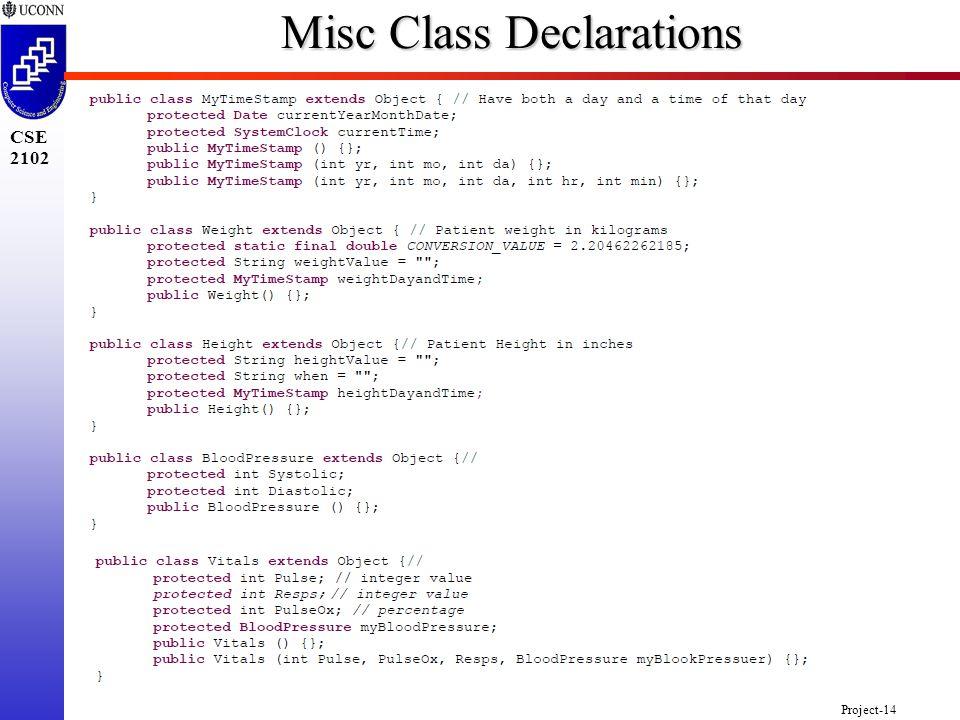 Project-14 CSE 2102 Misc Class Declarations