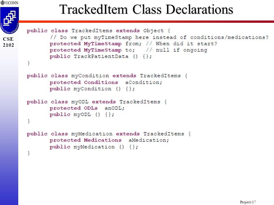Project-17 CSE 2102 TrackedItem Class Declarations