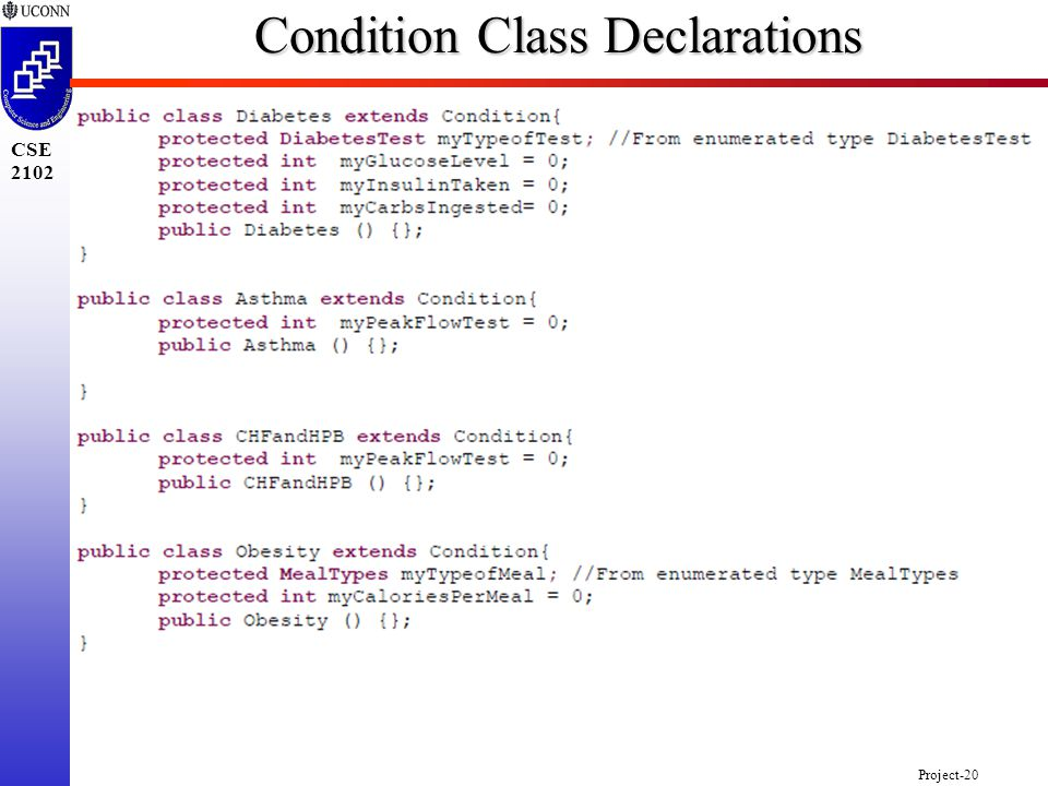 Project-20 CSE 2102 Condition Class Declarations