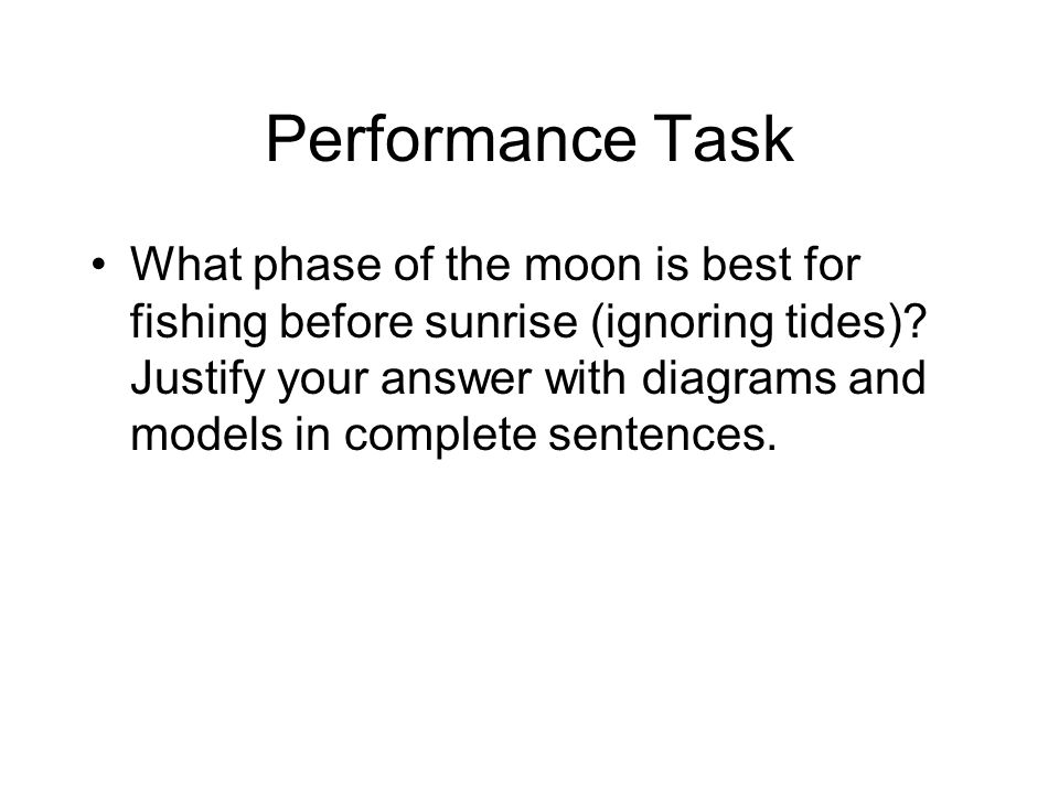 Performance Task What phase of the moon is best for fishing before sunrise (ignoring tides).