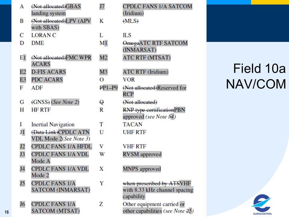 16 Field 10a NAV/COM