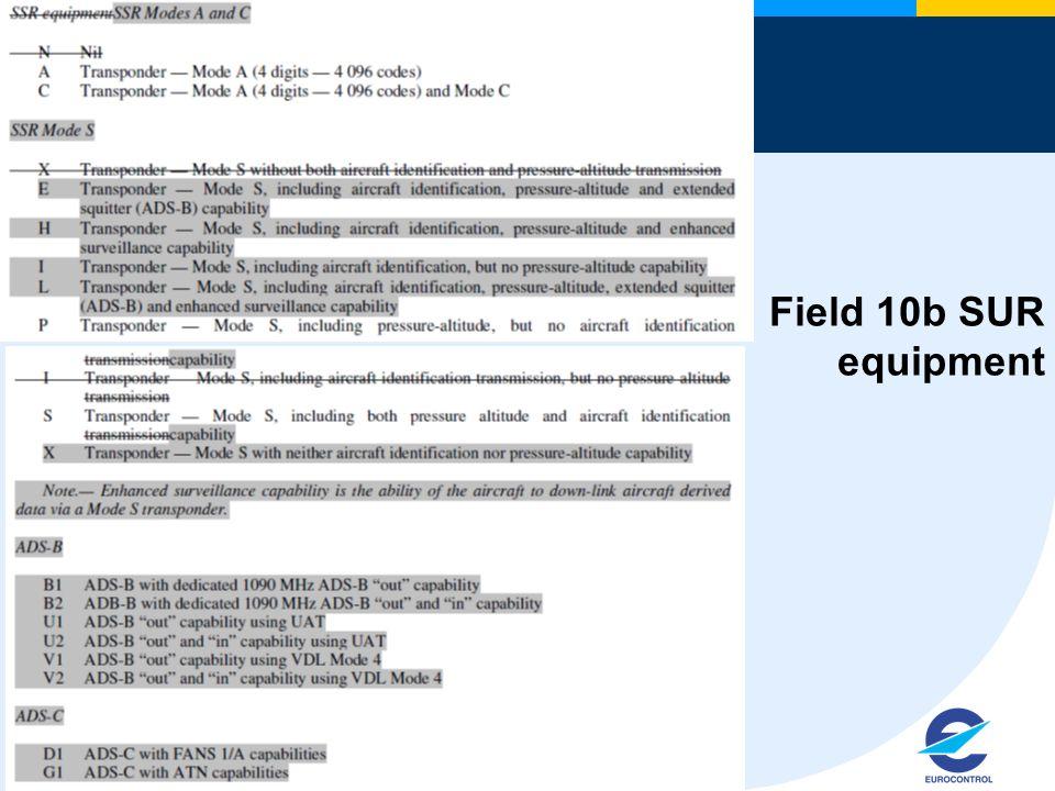 18 Field 10b SUR equipment