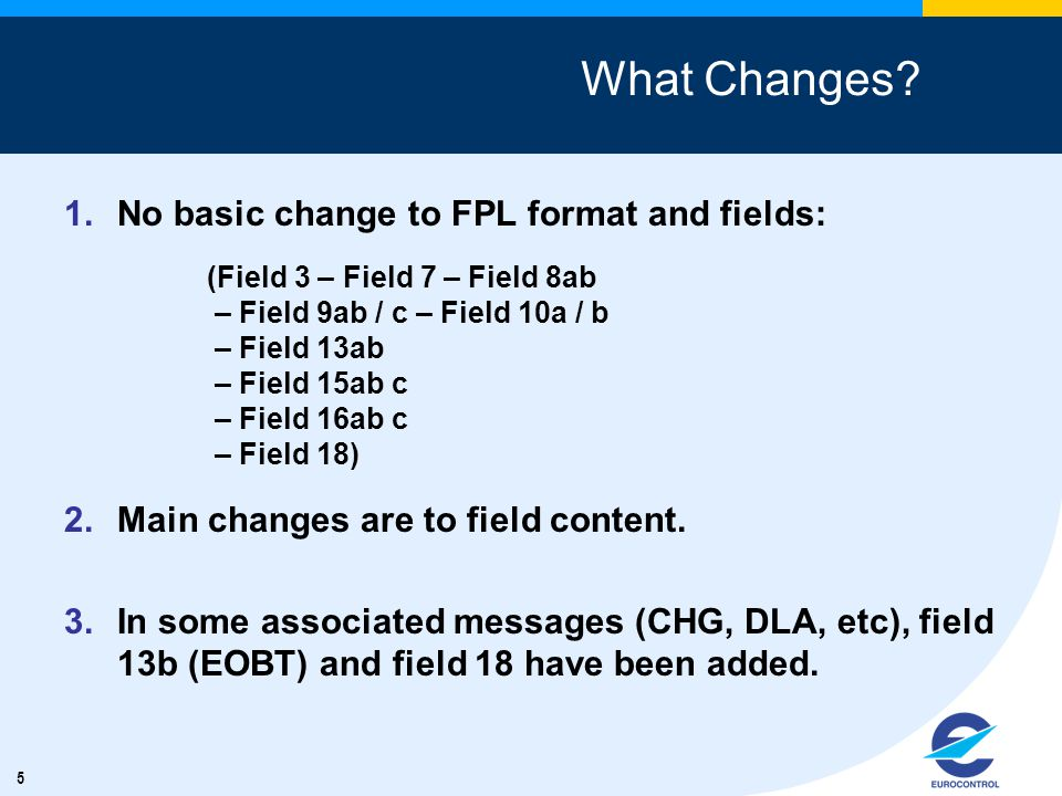 5 What Changes. 1.No basic change to FPL format and fields: 2.Main changes are to field content.