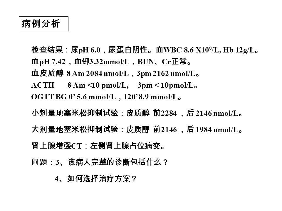 病例分析 检查结果:尿 pH 6.0 ,尿蛋白阴性。血 WBC 8.6 X10 9 /L, Hb 12g/L 。 血 pH 7.42 ,血钾 3.32mmol/L , BUN 、 Cr 正常。 血皮质醇 8 Am 2084 nmol/L , 3pm 2162 nmol/L 。 ACTH 8 Am <