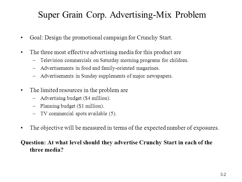 Super Grain Corp. Advertising-Mix Problem Goal: Design the promotional campaign for Crunchy Start. The three most effective advertising media for this