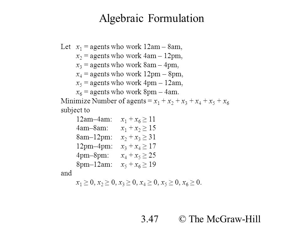 © The McGraw-Hill Companies, Inc., 2008 3.47 Algebraic Formulation Letx 1 = agents who work 12am – 8am, x 2 = agents who work 4am – 12pm, x 3 = agents