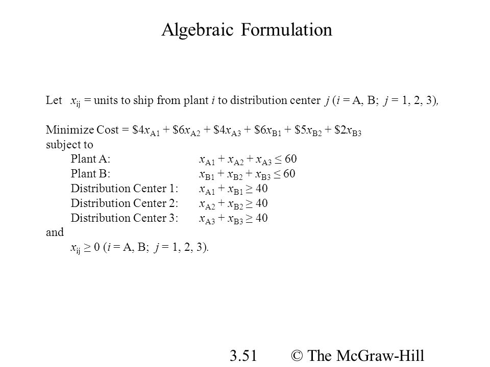 © The McGraw-Hill Companies, Inc., 2008 3.51 Algebraic Formulation Letx ij = units to ship from plant i to distribution center j (i = A, B; j = 1, 2,