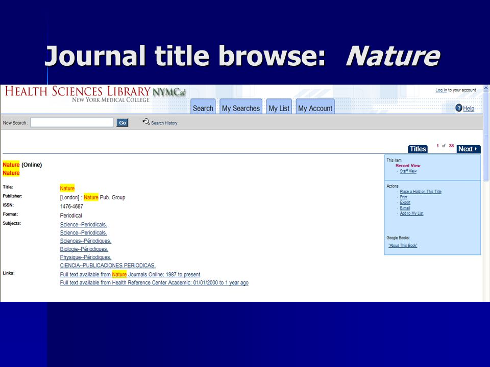 Journal title browse: Nature