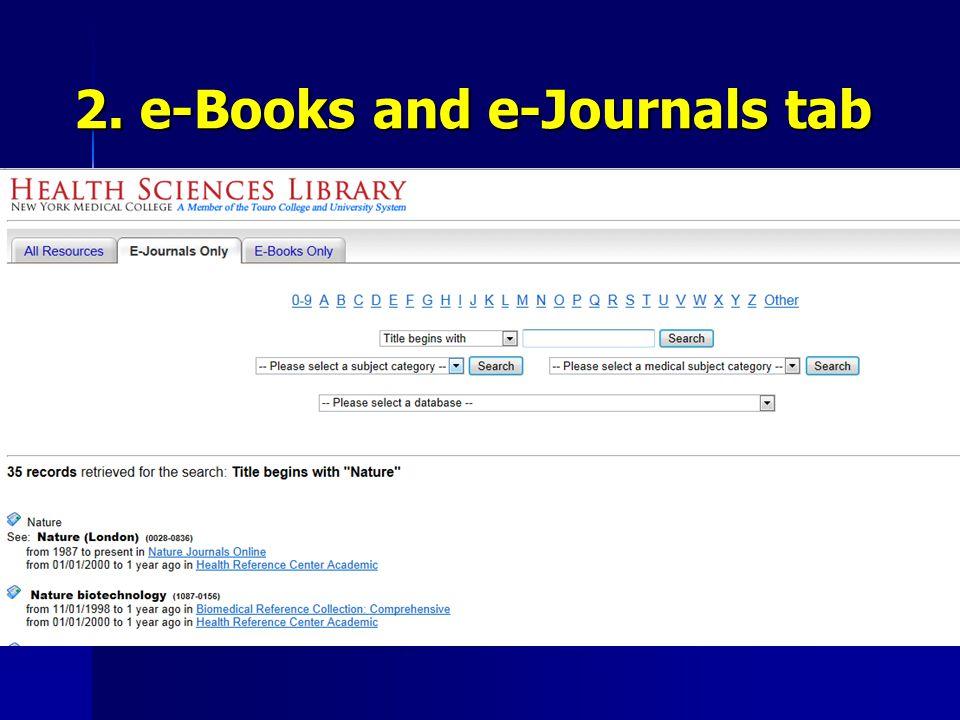 2. e-Books and e-Journals tab
