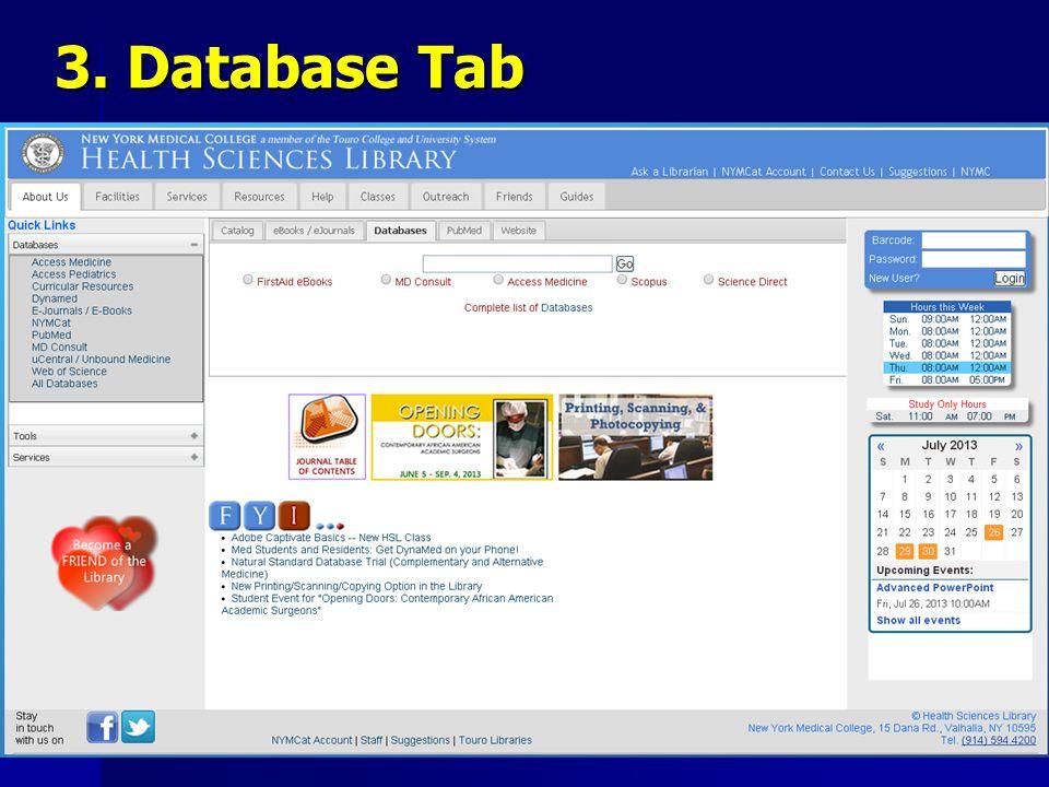 3. Database Tab