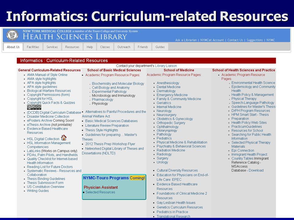 Informatics: Curriculum-related Resources