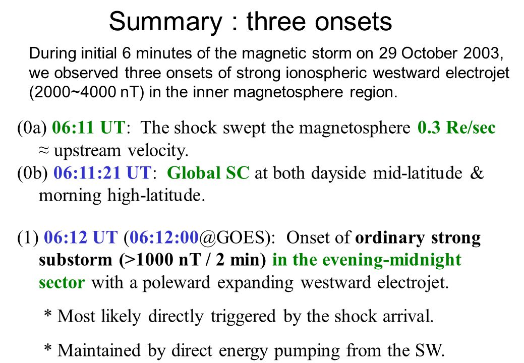 Summary : three onsets During initial 6 minutes of the magnetic storm on 29 October 2003, we observed three onsets of strong ionospheric westward electrojet (2000~4000 nT) in the inner magnetosphere region.