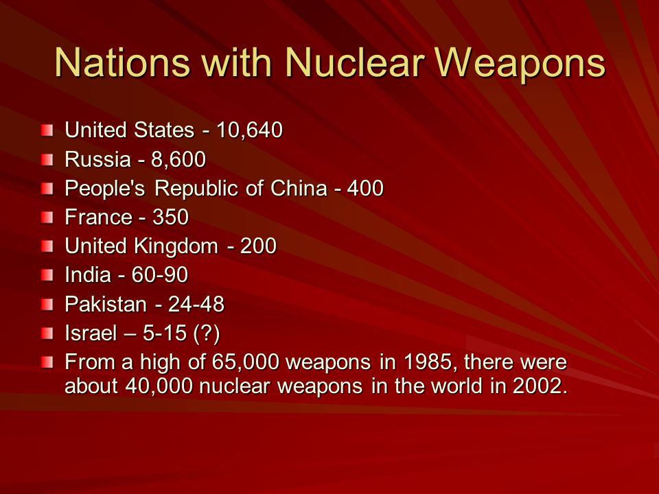 Nations with Nuclear Weapons United States - 10,640 Russia - 8,600 People s Republic of China - 400 France - 350 United Kingdom - 200 India - 60-90 Pakistan - 24-48 Israel – 5-15 ( ) From a high of 65,000 weapons in 1985, there were about 40,000 nuclear weapons in the world in 2002.