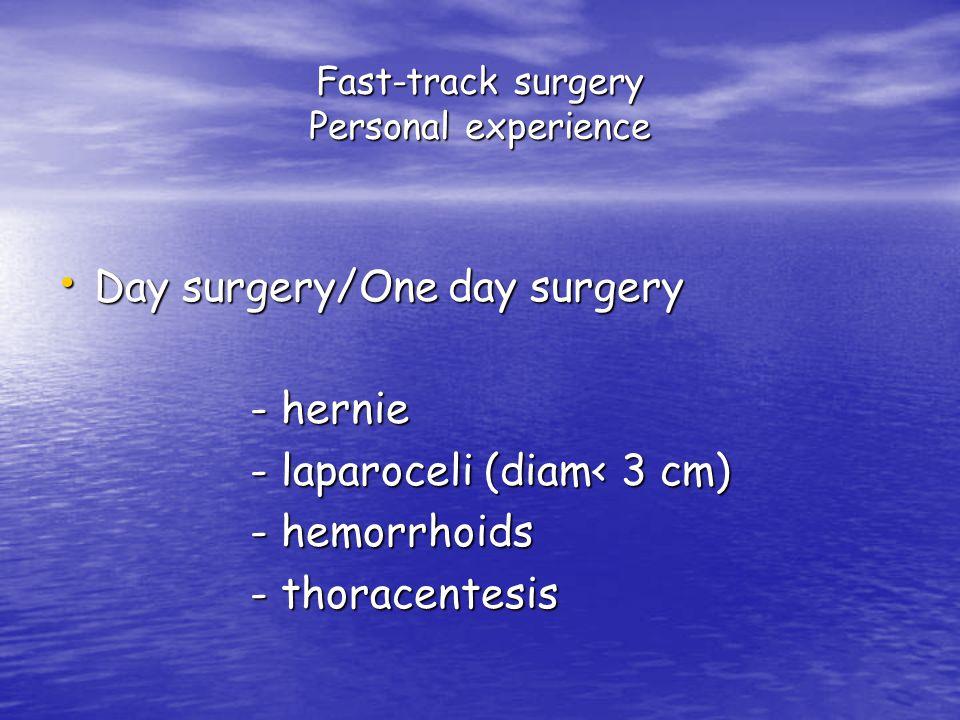 Fast-track surgery Personal experience Day surgery/One day surgery Day surgery/One day surgery - hernie - hernie - laparoceli (diam< 3 cm) - laparoceli (diam< 3 cm) - hemorrhoids - hemorrhoids - thoracentesis - thoracentesis