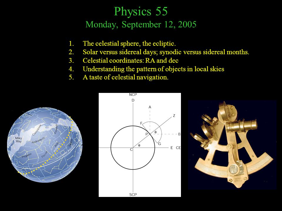 Physics 55 Monday, September 12, 2005 1.The celestial sphere, the ecliptic.