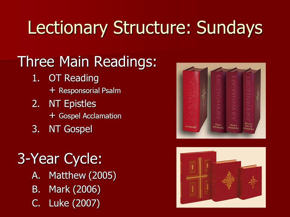 Lectionary Structure: Sundays Three Main Readings: 1.OT Reading + Responsorial Psalm 2.NT Epistles + Gospel Acclamation 3.NT Gospel 3.NT Gospel 3-Year Cycle: A.Matthew (2005) B.Mark (2006) C.Luke (2007)