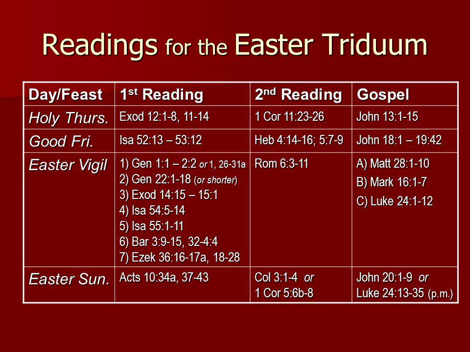 Readings for the Easter Triduum Day/Feast 1 st Reading 2 nd Reading Gospel Holy Thurs.