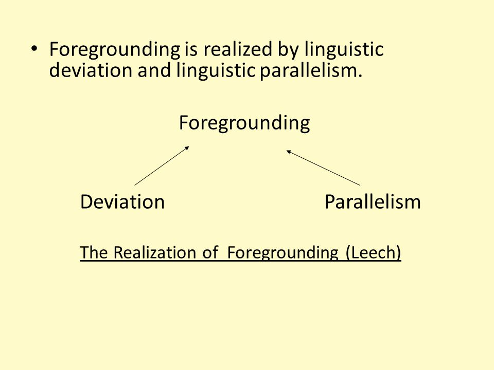 Foregrounding is realized by linguistic deviation and linguistic parallelism. Foregrounding Deviation Parallelism The Realization of Foregrounding (Le