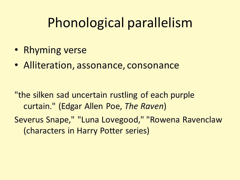 Phonological parallelism Rhyming verse Alliteration, assonance, consonance