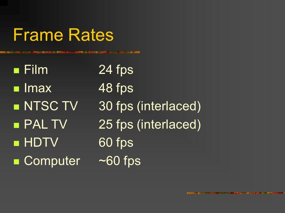 Frame Rates Film24 fps Imax48 fps NTSC TV30 fps (interlaced) PAL TV25 fps (interlaced) HDTV60 fps Computer~60 fps