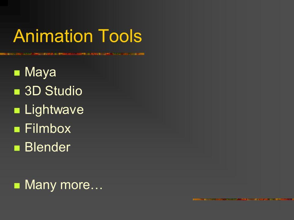 Animation Tools Maya 3D Studio Lightwave Filmbox Blender Many more…