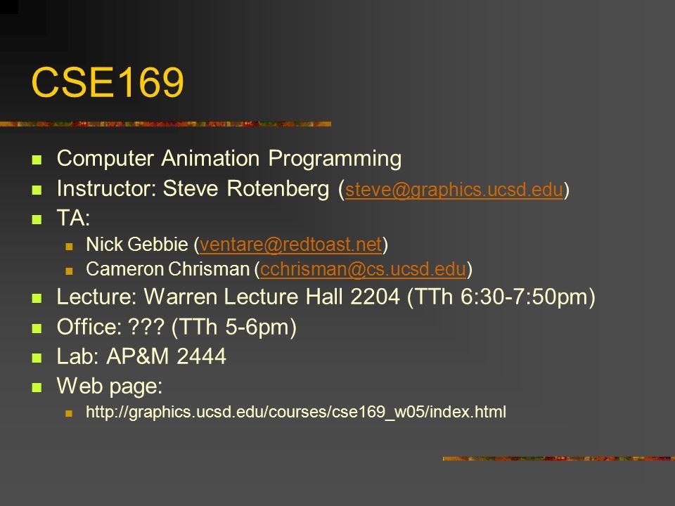 CSE169 Computer Animation Programming Instructor: Steve Rotenberg ( steve@graphics.ucsd.edu) steve@graphics.ucsd.edu TA: Nick Gebbie (ventare@redtoast.net)ventare@redtoast.net Cameron Chrisman (cchrisman@cs.ucsd.edu)cchrisman@cs.ucsd.edu Lecture: Warren Lecture Hall 2204 (TTh 6:30-7:50pm) Office: ??.