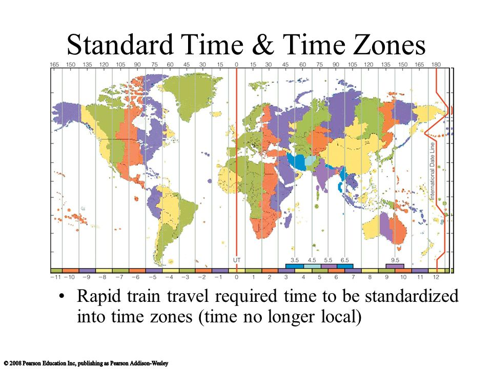 Standard Time & Time Zones Rapid train travel required time to be standardized into time zones (time no longer local)