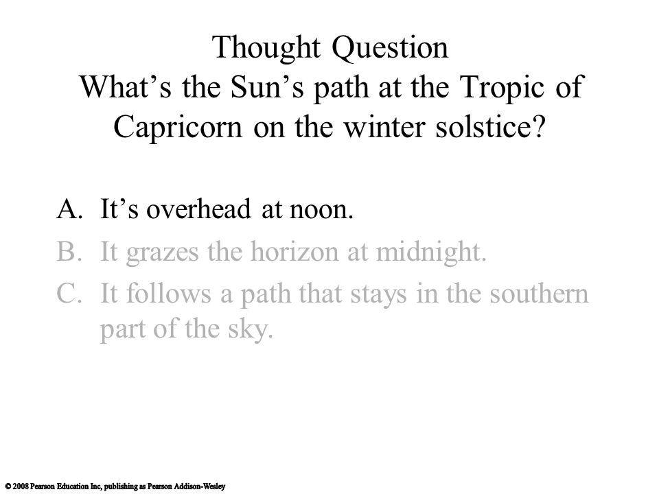 Thought Question What's the Sun's path at the Tropic of Capricorn on the winter solstice? A.It's overhead at noon. B.It grazes the horizon at midnight