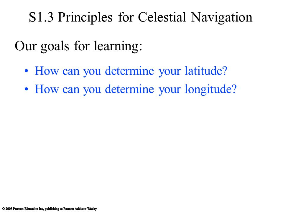S1.3 Principles for Celestial Navigation How can you determine your latitude? How can you determine your longitude? Our goals for learning:
