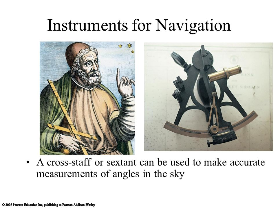 Instruments for Navigation A cross-staff or sextant can be used to make accurate measurements of angles in the sky