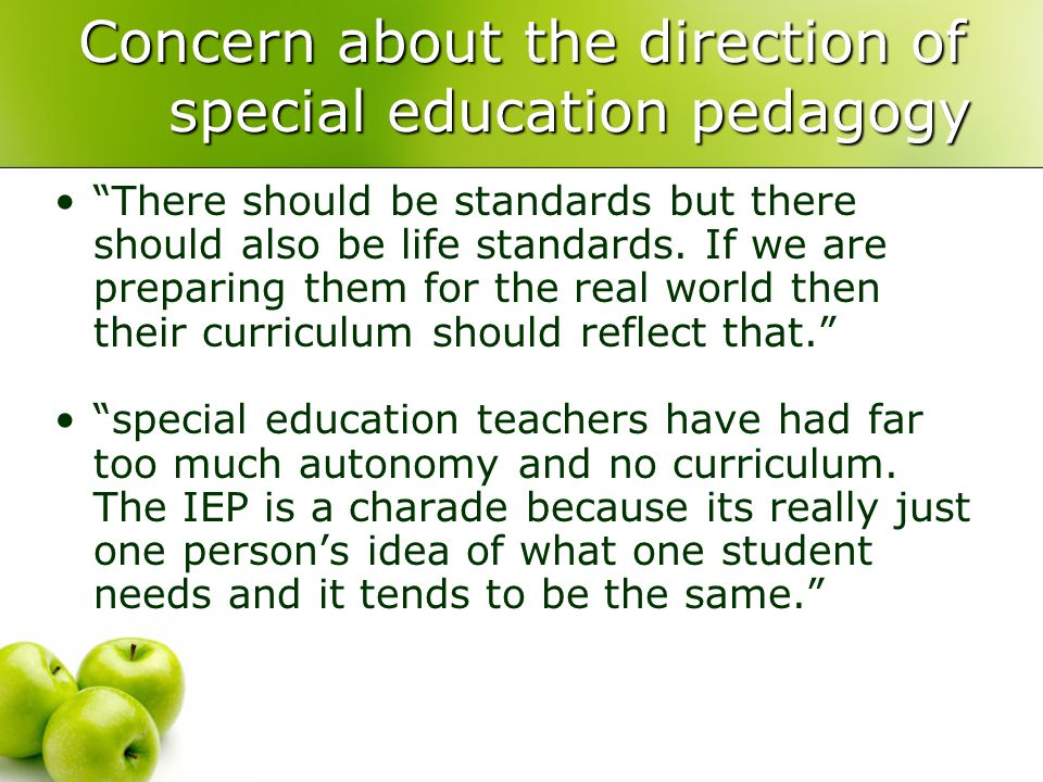 Concern about the direction of special education pedagogy There should be standards but there should also be life standards.