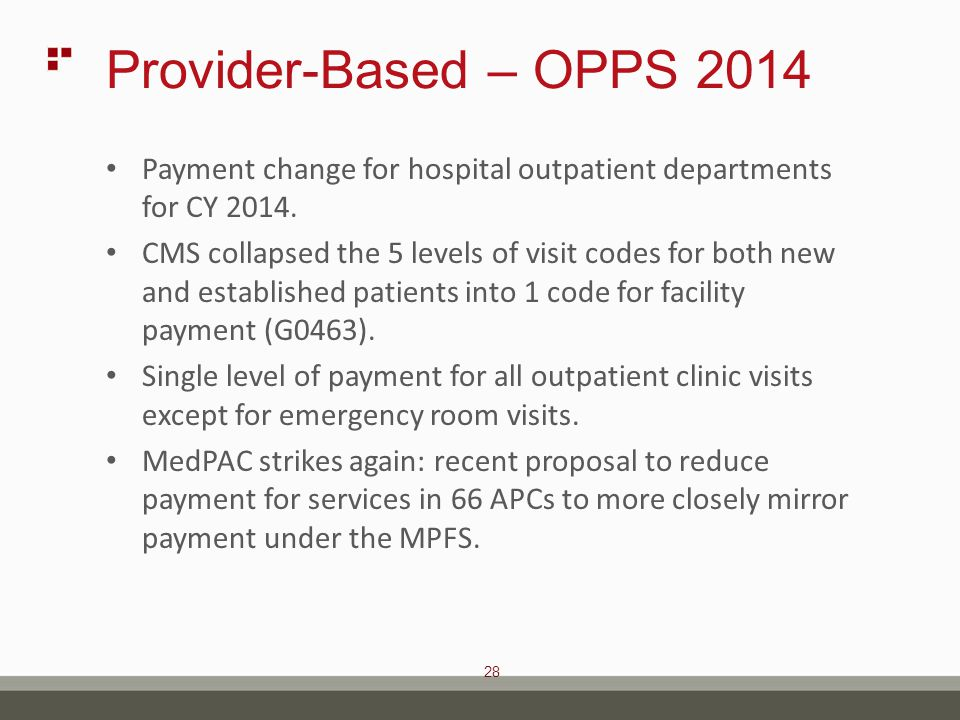 28 Provider-Based – OPPS 2014 Payment change for hospital outpatient departments for CY 2014.