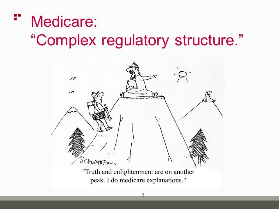 3 Medicare: Complex regulatory structure. 3
