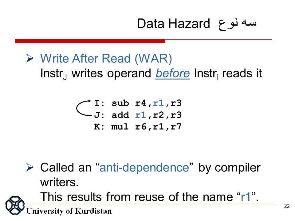  Write After Read (WAR) Instr J writes operand before Instr I reads it  Called an anti-dependence by compiler writers.