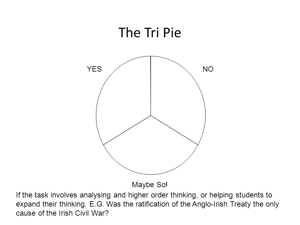The Tri Pie If the task involves analysing and higher order thinking, or helping students to expand their thinking.