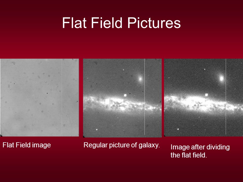 Flat Field Pictures Flat Field imageRegular picture of galaxy. Image after dividing the flat field.