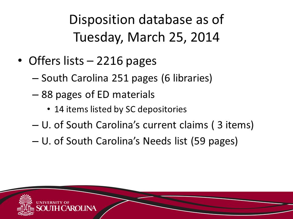 Database Usage – Discards by Libraries in Southeast Through October 31, 2013 Univ.