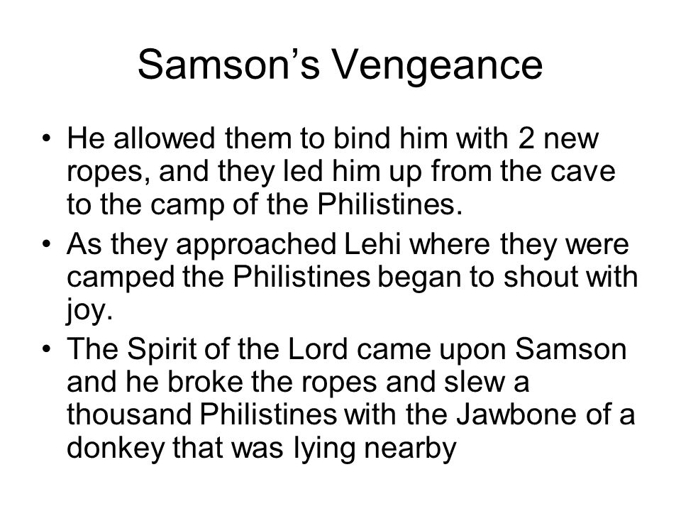 Samson's Vengeance He allowed them to bind him with 2 new ropes, and they led him up from the cave to the camp of the Philistines.