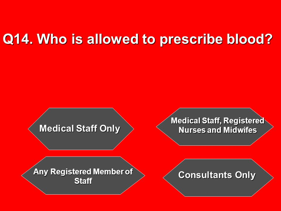 Q14. Who is allowed to prescribe blood.