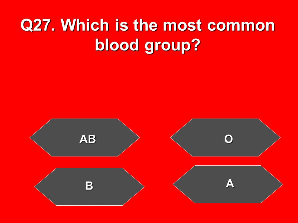 Q27. Which is the most common blood group ABO B A