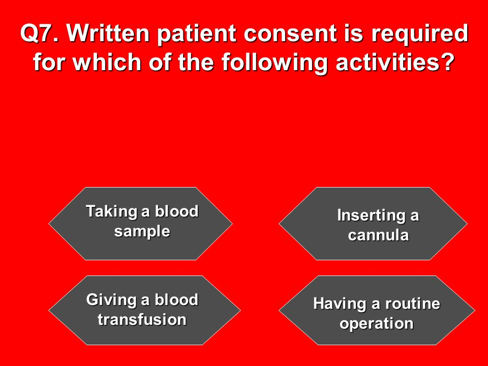 Q7. Written patient consent is required for which of the following activities.