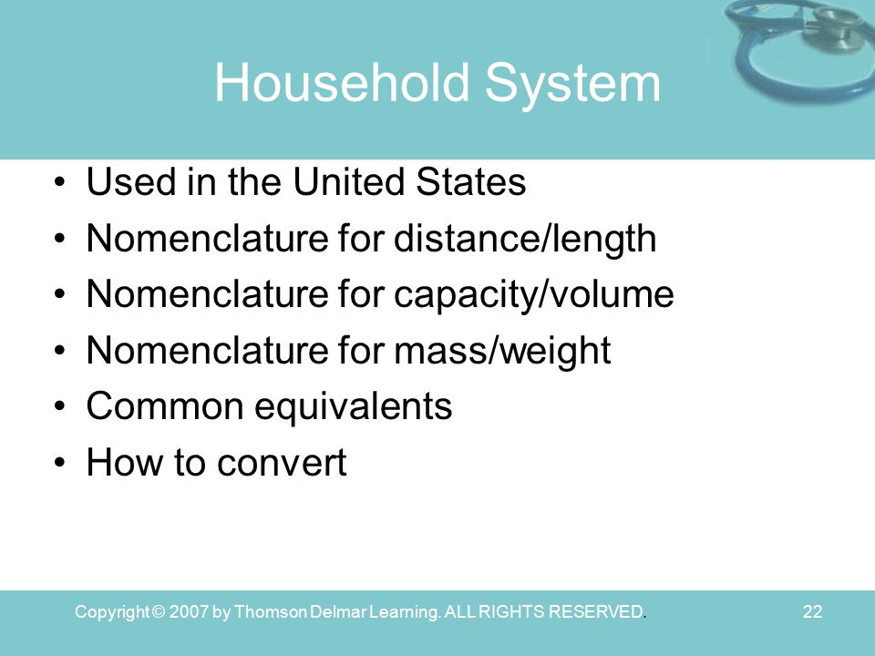 Copyright © 2007 by Thomson Delmar Learning. ALL RIGHTS RESERVED.22 Household System Used in the United States Nomenclature for distance/length Nomenc
