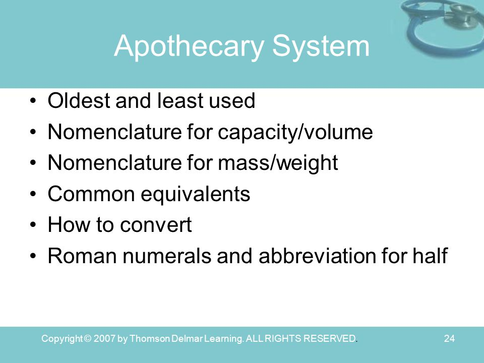 Copyright © 2007 by Thomson Delmar Learning. ALL RIGHTS RESERVED.24 Apothecary System Oldest and least used Nomenclature for capacity/volume Nomenclat