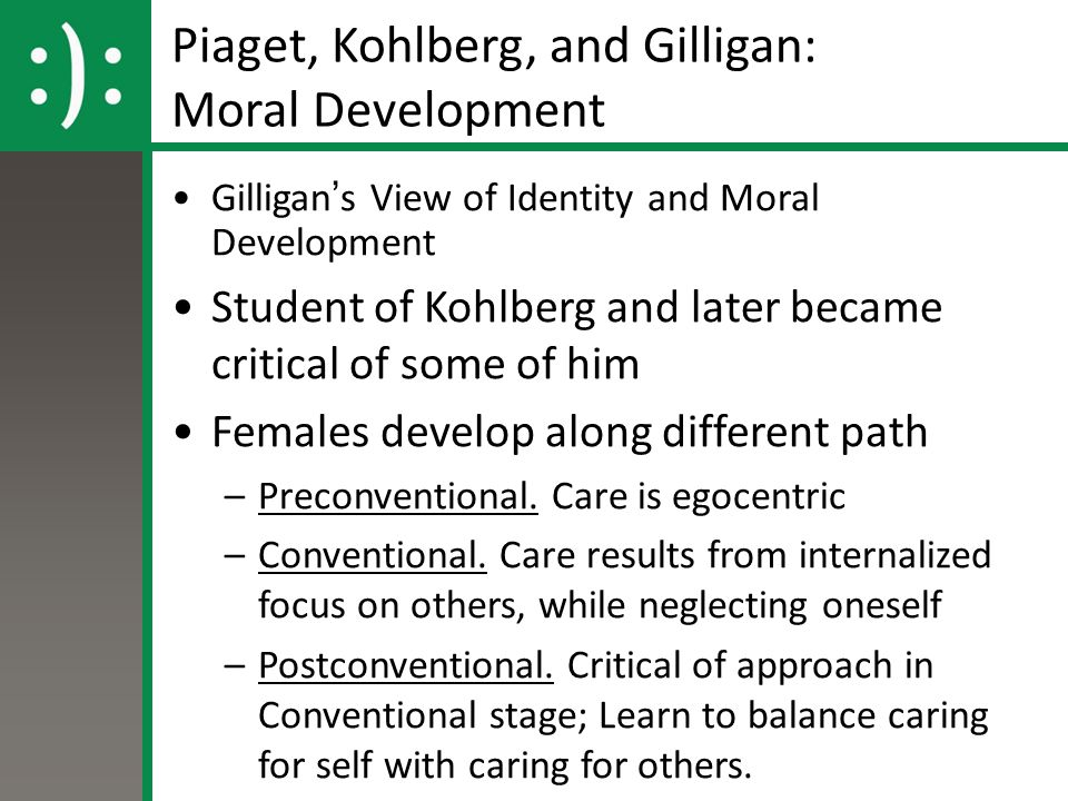 Piaget, Kohlberg, and Gilligan: Moral Development Gilligan's View of Identity and Moral Development Student of Kohlberg and later became critical of some of him Females develop along different path –Preconventional.