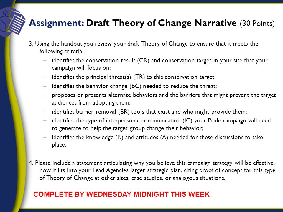 Assignment: Draft Theory of Change Narrative (30 Points) 3.