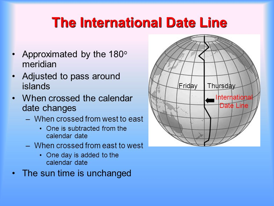 The International Date Line Approximated by the 180 o meridian Adjusted to pass around islands When crossed the calendar date changes –When crossed fr