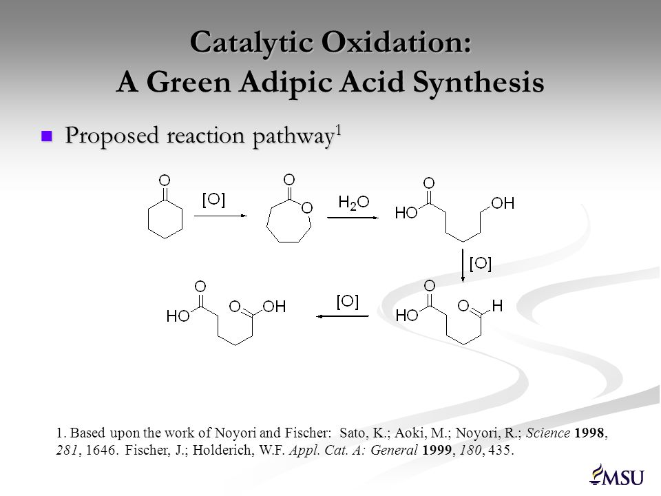 Catalytic Oxidation: A Green Adipic Acid Synthesis Proposed reaction pathway 1 Proposed reaction pathway 1 1. Based upon the work of Noyori and Fische