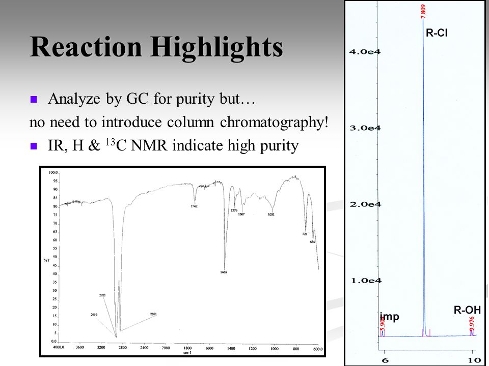 Reaction Highlights Analyze by GC for purity but… no need to introduce column chromatography! IR, H & 13 C NMR indicate high purity