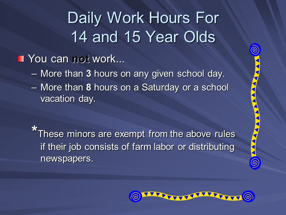 Daily Work Hours For 14 and 15 Year Olds You can not work... –More than 3 hours on any given school day. –More than 8 hours on a Saturday or a school
